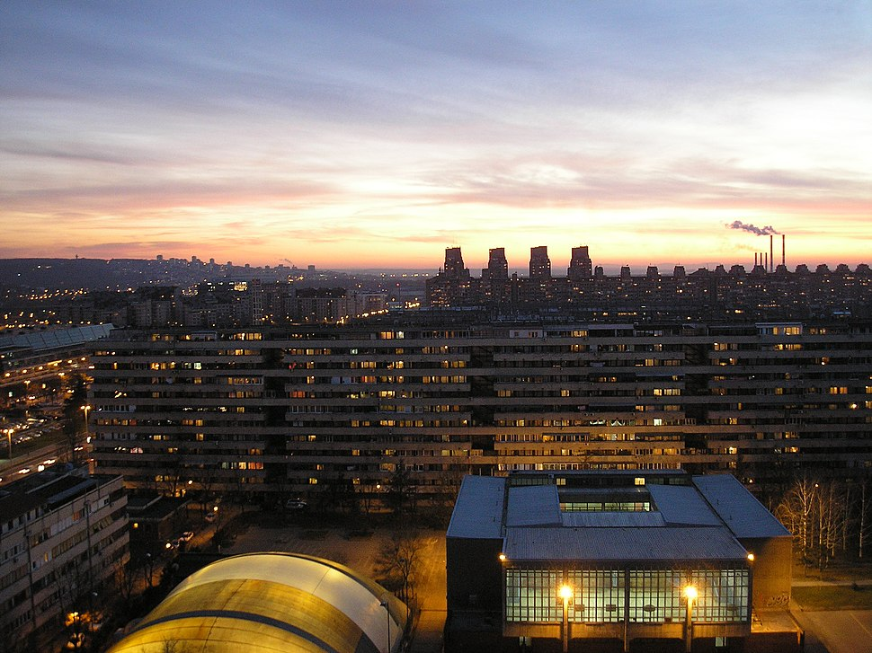 Novi Beograd - A view to SSW by sunset