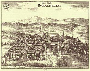 Novo Mesto - Ruodolphswert, engraving by Valvasor, 1689