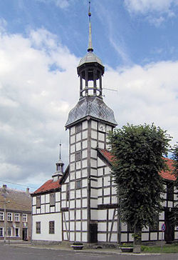 Town Hall in Nowe Warpno, built 1697, one of the most distinctive town halls in Poland