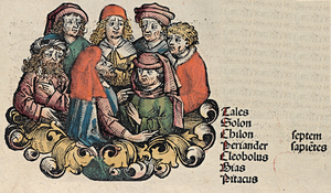 Seven Sages of Greece - The Seven Sages, depicted in the Nuremberg Chronicle