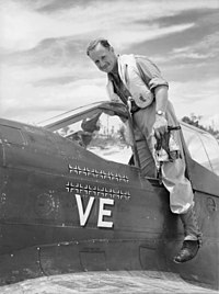 "Full-length portrait of pilot smiling at the camera as he emerges from cockpit of single-engined monoplane with a number of black crosses and the letters ""VE"" prominently displayed on the fuselage"