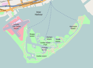 Toronto Island ferries - Labelled map of the Toronto Islands