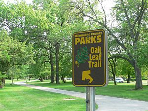 Oak Leaf Trail - A sign for the Oak Leaf Trail in Lake Park on Milwaukee's East Side neighborhood
