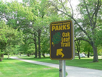 Oak Leaf Trail - A sign for the Oak Leaf Trail in Lake Park on Milwaukee's East Side neighborhood