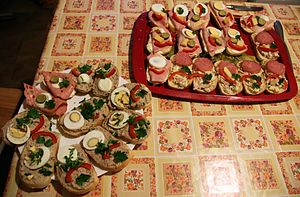 Obložené chlebíčky - Obložené chlebíčky is an appetizer or snack