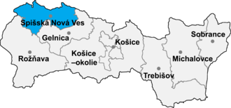Arnutovce - Location of Spisska District in the Košice Region
