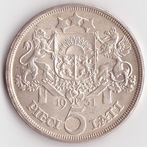 5 lats coin - Image: Old 5 lats obverse
