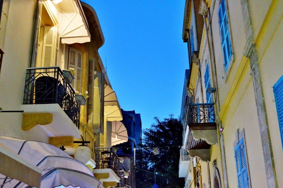 Old Nicosia Verandas near Ledra Street Leventis Gallery by night Nicosia Republic of Cyprus