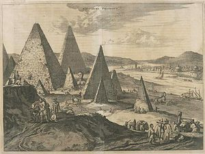 Joseph's Granaries - View of the Pyramids by Olfert Dapper (1670).