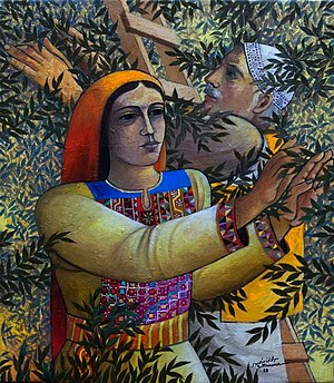 Palestinian art - Olive picking, Sliman Mansour, Oil on canvas, 1988