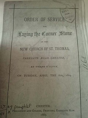 St Thomas of Canterbury Church, Chester - Order of Service, 6 April 1869
