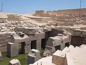 Thinis - Nearby Abydos (Osireion pictured), after ceding its political rank to Thinis, remained an important religious centre.