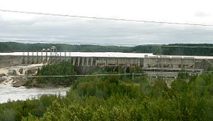 Abitibi River - Otter Rapids Dam as seen from the ONR railway.