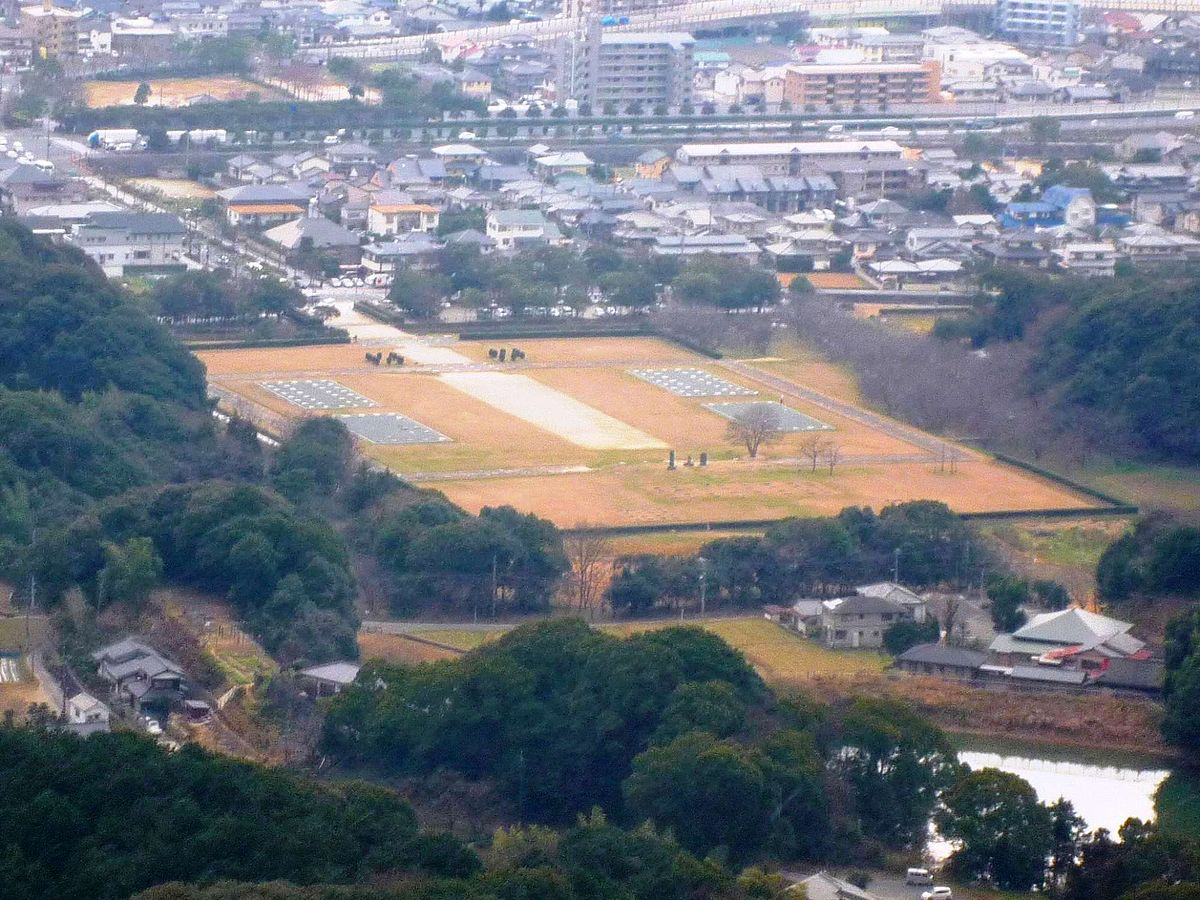 Overhead view of Dazaifu metro ruin taken from Mt.Iwaya that is 281ms high located in about 3kms to the south.jpg