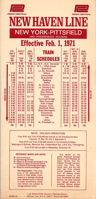 Housatonic Railroad - Penn Central Railroad Form 110 effective Feb. 1, 1971 showing the final schedule for train service on the former Housatonic Railroad between Danbury, Conn. and Pittsfield, Mass.  At that time the service has been cut down to one train per week.