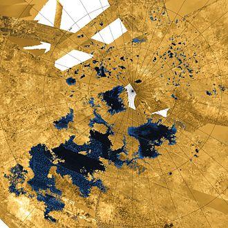 Lakes of Titan - Image: PIA17655 crop Titan north polar seas and lakes