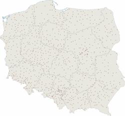 Rozmieszczenie miast w Polsce