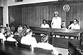 Pandit Ram Kishore Shukla addressing an official interface with Arjun Singh next to him in 1984.jpg