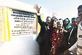 Pandit Ram Kishore Shukla and Motilal Vora inaugurating a beam bridge on river Son in Madhya Pradesh in 1986.jpg