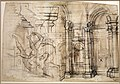 Paolo farinati, veduta di interni e caino che uccide abele da tintoretto, 1565-70 ca. 01.jpg