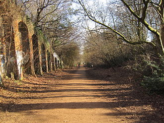 Parks and open spaces in the London Borough of Haringey - Parkland walk follows the route of an abandoned railway.