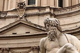 Particular of Gange allegory in Fontana dei Fiumi, Piazza Navona, Rome