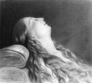 Paul Delaroche - Paul Delaroche sketch of his wife Louise Vernet on her death bed
