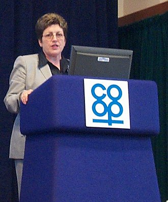 Co-operatives UK - Dame Pauline Green speaking at a co-operative meeting, 2005.