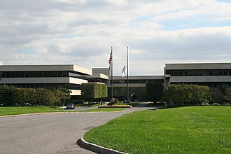 PepsiCo - PepsiCo's global headquarters building from the Donald M. Kendall Sculpture Gardens in Harrison, New York, in the hamlet of Purchase