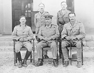 Percy Sykes - Brigadier Sir Percy Sykes with officers of original Mission Bandar Abbas, April 1916. (Standing) Major E Howell, Captain Durham, (Seated) Major G. Blair (Staff Officer) Brig General Sir Percy Sykes, Captain R.C. Ruck.
