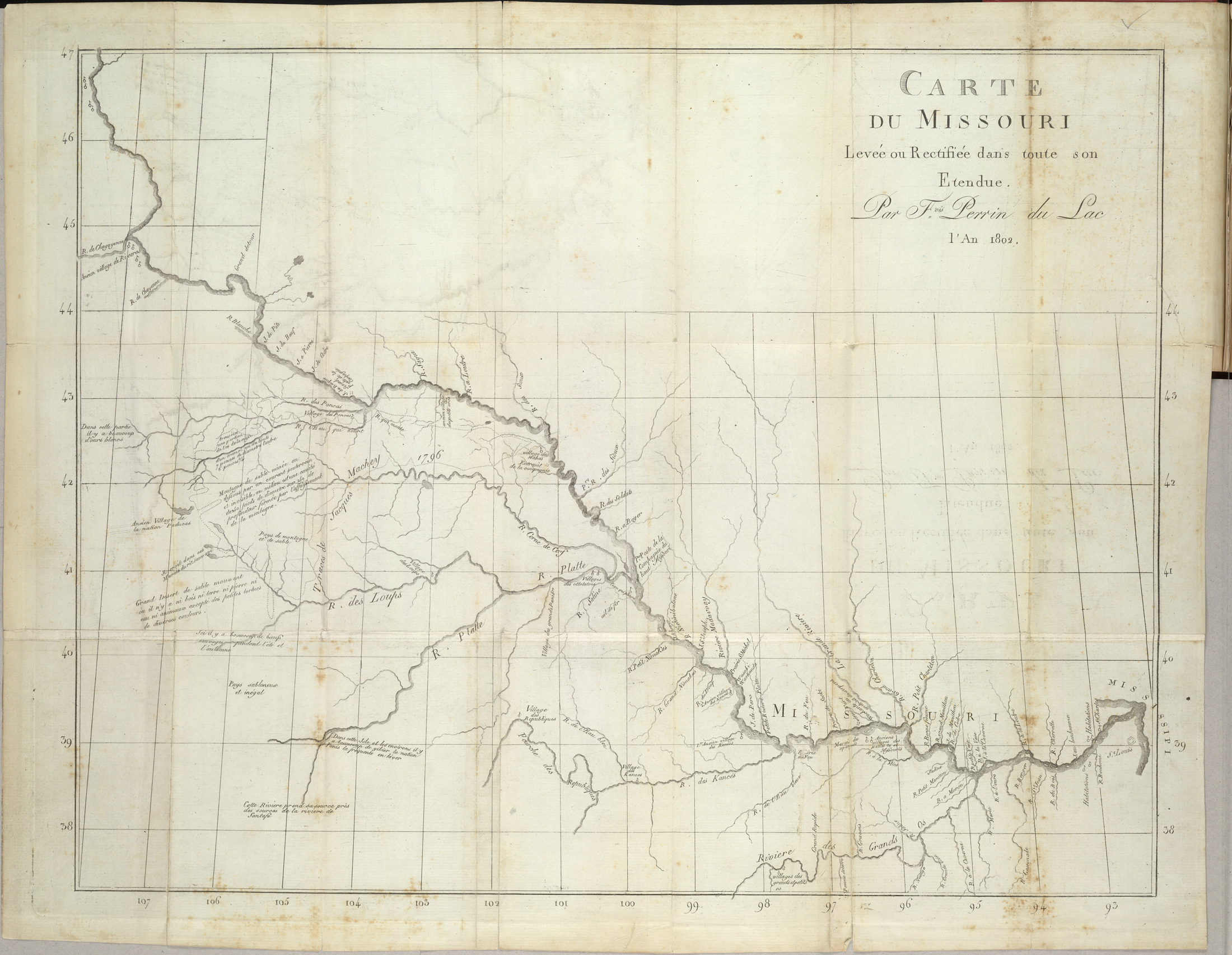 "Perrin du Lac's ""Map of the Banks of the Missouri River"" (1802), locates the Pawnee Republic (Village des Republic) on the Republican Fork of the Kansas River[1]"