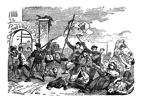 Picture showing the massacre of Perugia citizens by the papal troops, 20 June 1859 Perugia massacre patriots 1859.jpg