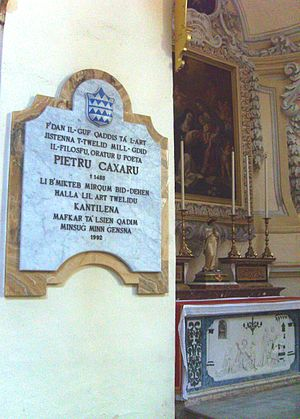 Pietru Caxaro - Peter Caxaro's tomb memorial at St. Dominic's Church, Rabat, Malta
