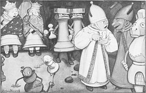 "Pawn (chess) - ""The chessmen were walking about, two and two!"" Illustration by Peter Newell to Through the Looking-Glass, and What Alice Found There (1871) by Lewis Carroll. The story is chess-themed, with most main characters represented as chess pieces; and Alice, the main protagonist, representing a pawn."