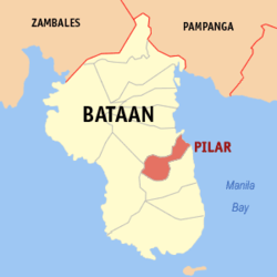 Map of Bataan showing the location of Pilar.