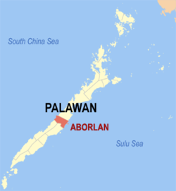 Map of Palawan with Aborlan highlighted