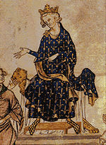 A Medieval image of Puilip IV seated, wearing a blue robe decorated with fleurs de lys