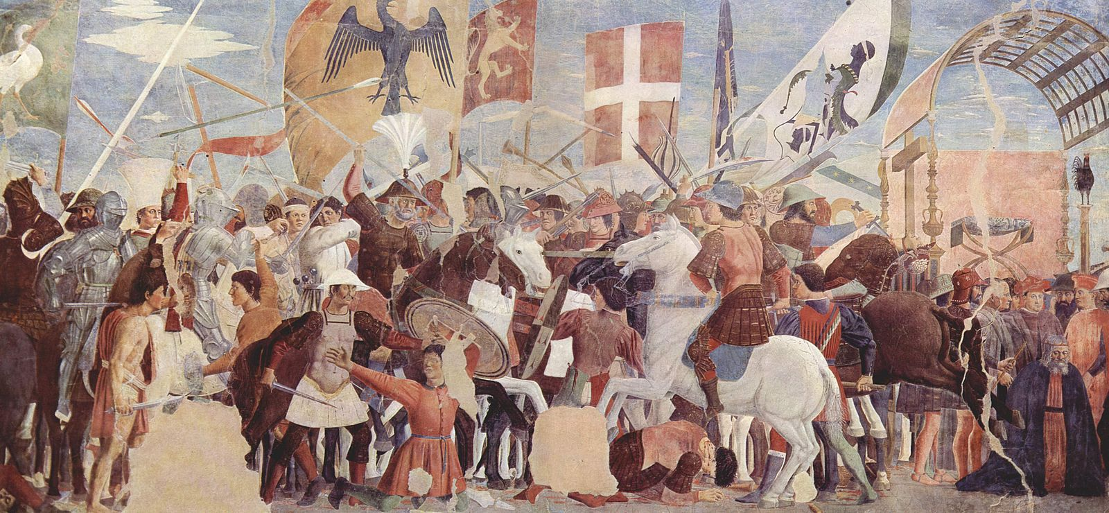 Battle between Heraclius' army and Persians under Khosrow II. Fresco by Piero della Francesca, c. 1452. Piero della Francesca 021.jpg