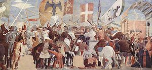 Byzantine Empire under the Heraclian dynasty - Battle between Heraclius and the Persians. Fresco by Piero della Francesca, c. 1452