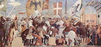 Khosrow II - An anachronistic illustration of the Battle of Nineveh (627) between Heraclius' army and the Persians under Khosrow II. Fresco by Piero della Francesca, ca. 1452