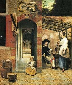 The Courtyard of a House in Delft - Courtyard with an Arbour, 1658