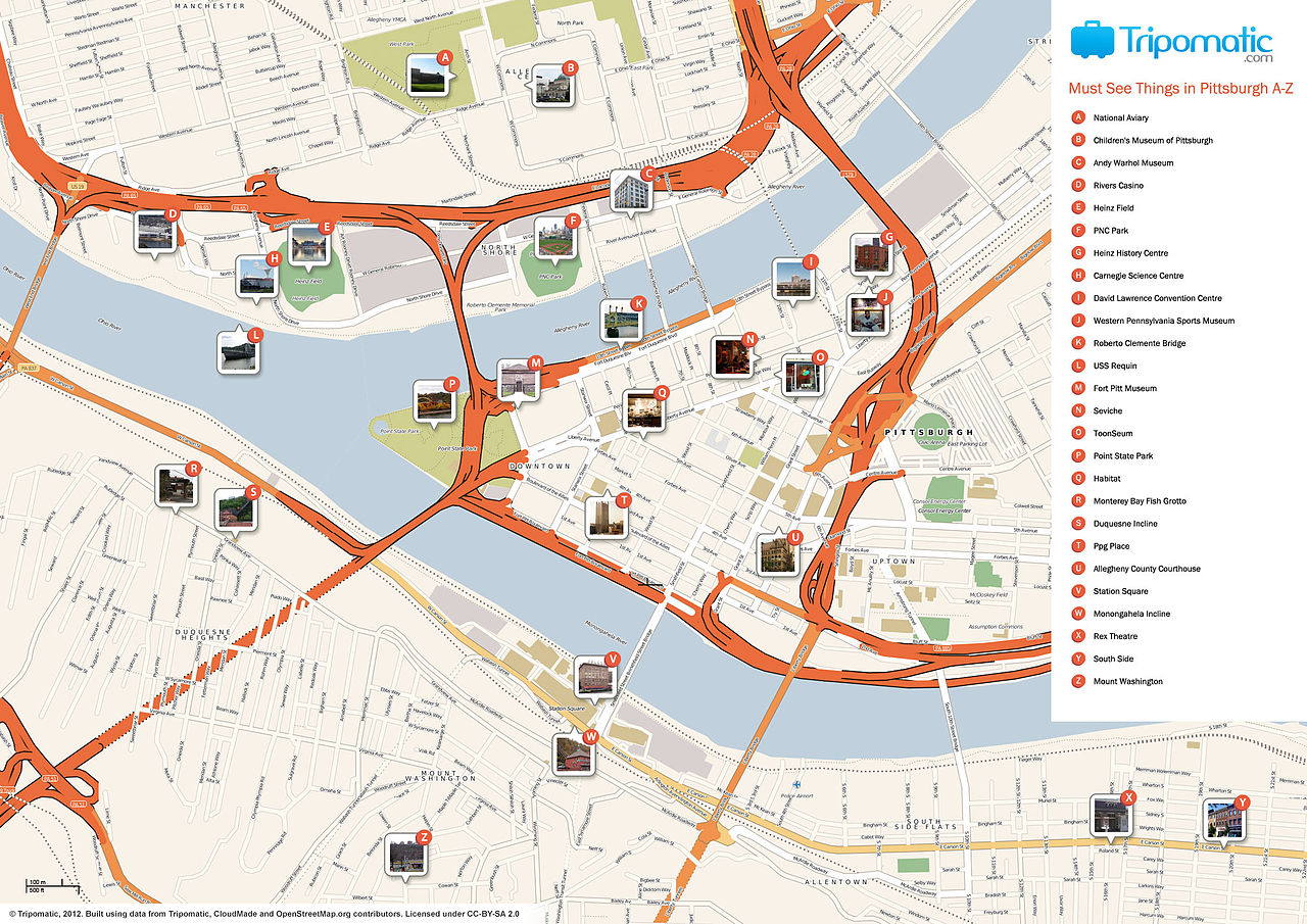 picture about Printable Map of Boston titled Document:Pittsburgh printable vacationer points of interest map.jpg