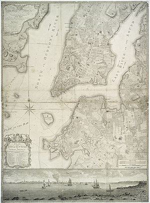 Bernard Ratzer - Plan of the City of New York, surveyed by Bernard Ratzer in 1766–7