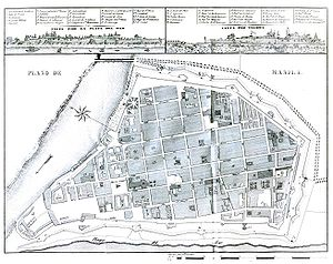 Laws of the Indies - Plan of the walled city of Manila with elements of colonial planning present