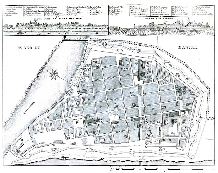 Plan of the walled city of Manila with elements of colonial planning present Plano de Manila 1851.jpg