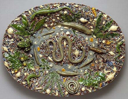 """Rustic"" glazed earthenware platter attributed to Bernard Palissy, Paris Platter MET DT574 (cropped).jpg"
