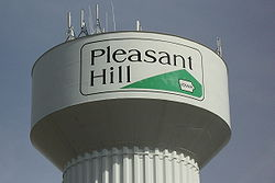 Pleasant Hill's water tower, with the city logo