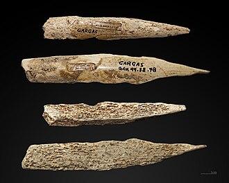 Caves of Gargas - Image: Poinçon sur os abrasé MHNT Gargas