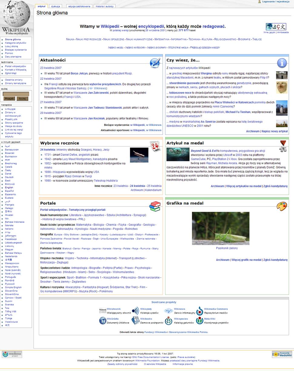 Polish Wikipedia Main Page - 2007-04-24