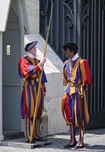 Pontifical Swiss Guards in their traditional uniform.jpg